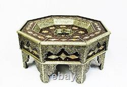 Moroccan Coffee Table Center Piece Brown Authentic Handmade Decor Glass Top