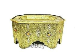 Moroccan Coffee Table Center Piece Gold Brass Finish Authentic Handmade Decor