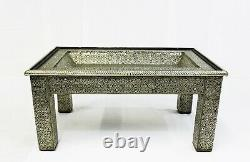 Moroccan Coffee Table Center Piece Silver Authentic Home Decor Glass Top