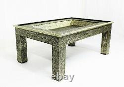 Moroccan Coffee Table Center Piece Silver Large Authentic Home Decor Glass Top