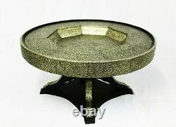 Moroccan Dining Table Round Center Piece Aged Silver Color Glass Top Authentic