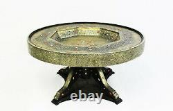 Moroccan Dining Table Round Center Piece Brass Gold Silver Glass Top Authentic
