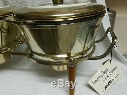 NWT 1950s GEORGES BRIARD DOUBLE BOWL WARMER SET. TABLE CENTERPIECE SIGNED! WOW