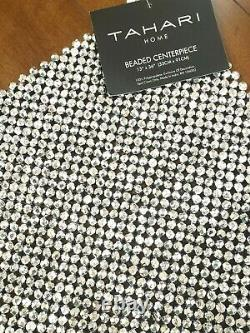 NWT Tahari Silver Beaded Table Runner Centerpiece 13x36 Shimmer Luxe Gorgeous