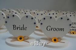 Name Place Settings, Sunflowers, Wedding Table Decor, Personalised, Wooden Heart