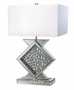 New Glamorous Mirror Table Lamp with Floating Crystal Decor Center Piece