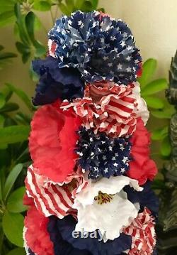 New Handmade Unique 4th Of July Patriotic Flag 18 Tree Centerpiece Table Decor