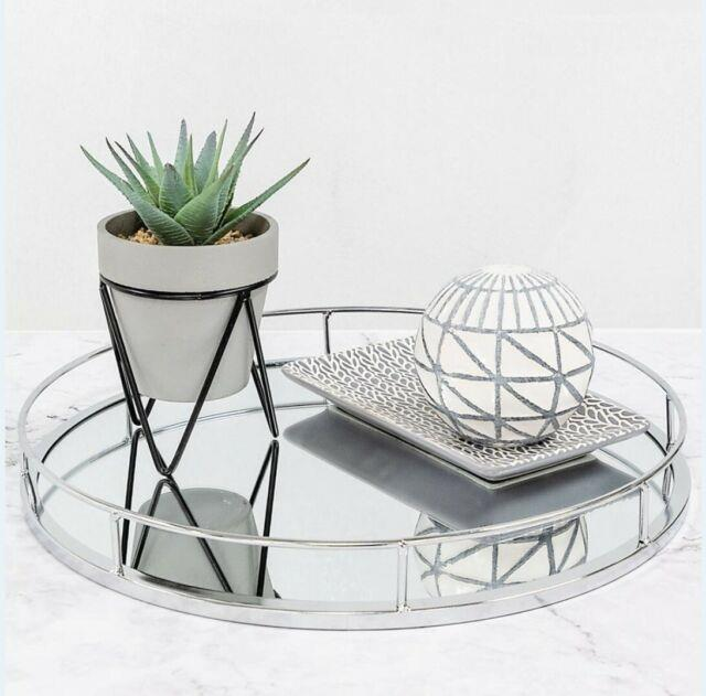 New Silver Round Mirror Base Candle Plate Tray Tealight Holder Table Centrepiece