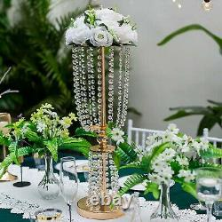 Nuptio 2 Pcs Wedding Centerpieces for Tables, 60cm Tall Gold Vases for Center