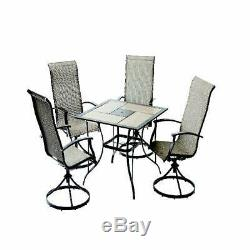 Outdoor Furniture 5-Piece Patio Dining Set With Tile Top Table & Swivel Chairs
