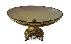 Oval Bowl Glass Centerpiece Table Decor Ombre Colored