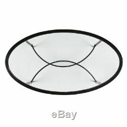 Oval Coffee Table Glass Top Centerpiece Contemporary Living Room Decor Black 45