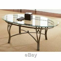 Oval Coffee Table Glass Top Centerpiece Modern Contemporary Living Room Decor 48