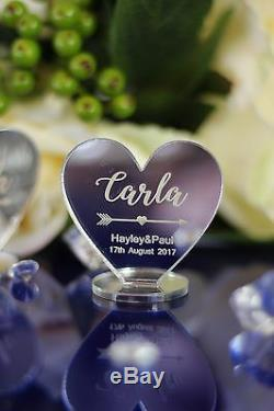 PERSONALISED NAME WEDDING TABLE PLACE HEARTS Birthday, Any party