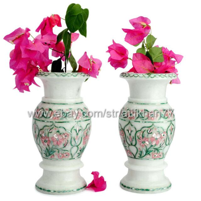 Pair Of Marble Flower Vase Table Centerpiece Mother Of Pearl Vase