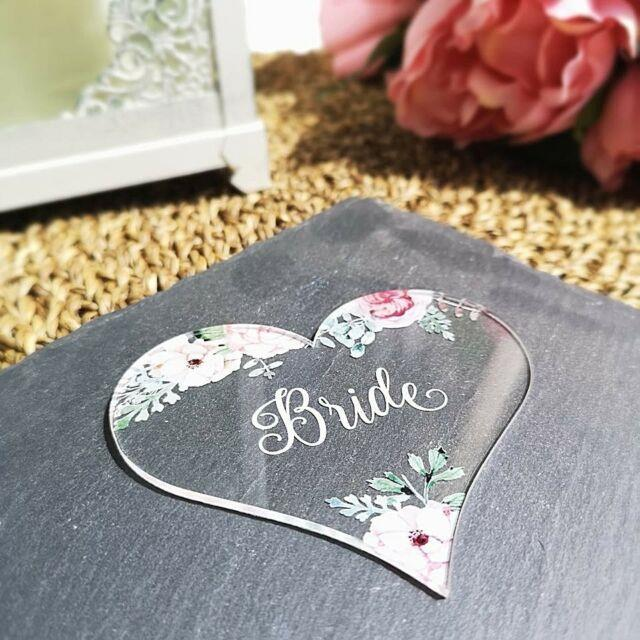 Personalised Heart Table Place Names Vintage Rose Clear
