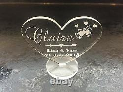 Personalised Name Acrylic Wedding Table Settings Place Hearts