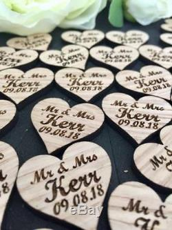 Personalised OAK wooden hearts/ table confetti /rustic wedding table decorations