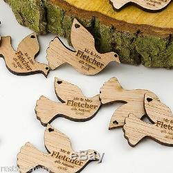 Personalised Wooden Dove Table Decorations. Rustic Vintage Bird Wedding Favours