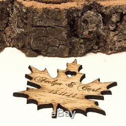 Personalised Wooden Leaf Table Decorations. Rustic or Vintage Wedding Favours