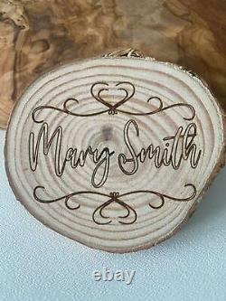 Personalised Wooden Place Settings Rustic Wedding Favours Dinning Table Names