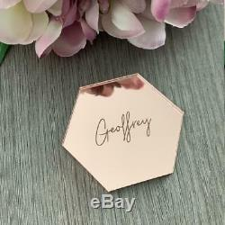 Rose Gold Mirror Acrylic Table Name, Hexagon Place Setting, Wedding Place Card