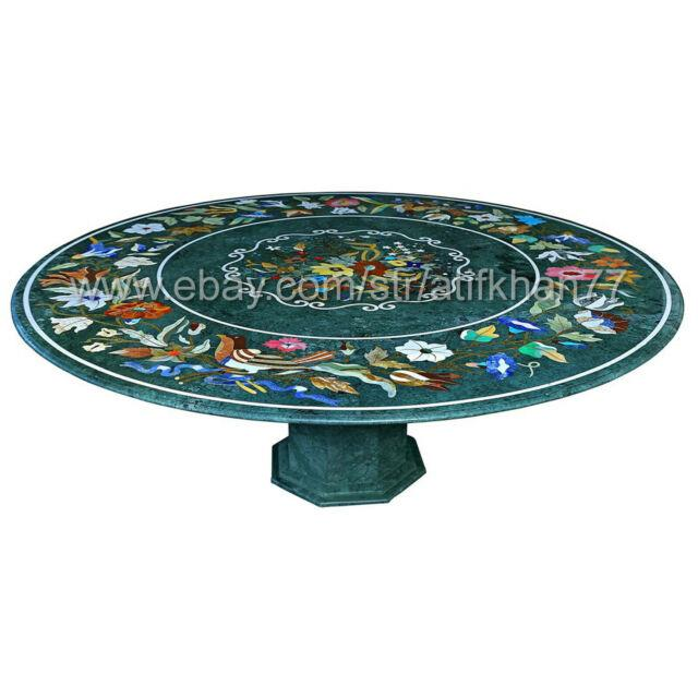 Round Coffee Table Green Marble Inlay Dining Table Centerpiece Decorative