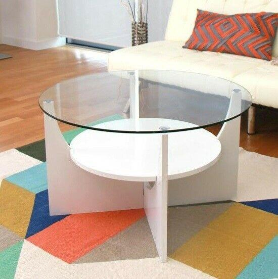 Round Glass Top Coffee Table With Shelf Contemporary Living Room Centerpiece White