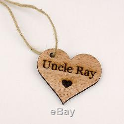 Rustic 6cm Wooden Heart Wedding Place Names. Table Decorations Engraved Name Tag