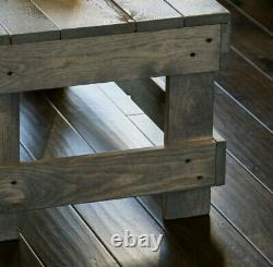 Rustic Solid Wood Coffee Table Rectangular Living Room Centerpiece Display Gray