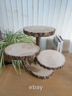 Rustic Wooden Cake Stand Cupcake Stand Handcrafted Rustic Table Center Piece