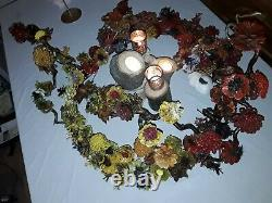 Rustic floral cascading wedding table centre