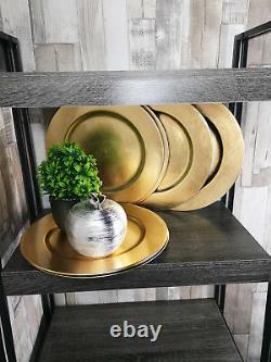 Set Of 20 Gold Effect Charger Plates Round Table Placemats Centerpieces Decor