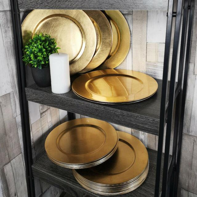 Set Of 96 Gold Effect Charger Plates Round Table Placemats Centerpiece Decor New