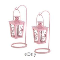 Set of 12 Soft Pink Railway Style Candle Lantern Table Centerpiece and Stand 9