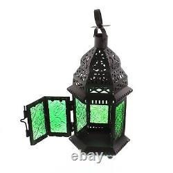 Set of 15 Green Candle Lantern Moroccan Glass Metal Wedding Table Centerpieces