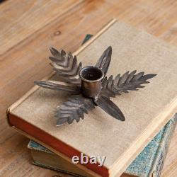 Set of Galvanized Leaf Candle Holder for Tapers, Centerpiece Table Decorative