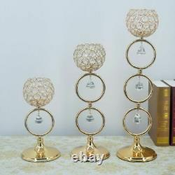 Shiny Elegant Candle Holders Wedding Centerpieces Crystals Metal Candelabras New