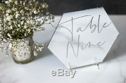 Silver Mirror, Hexagon Wedding Table Numbers, Mirror Table Numbers, Table Names