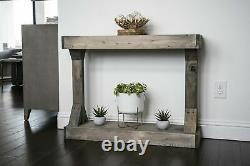 Small Gray Barb Solid Wood Unique Perfect Centerpiece Sturdy Console Table