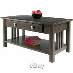 Solid Wood Cocktail Coffee Table with Drawer Storage Shelf Living Room Centerpiece