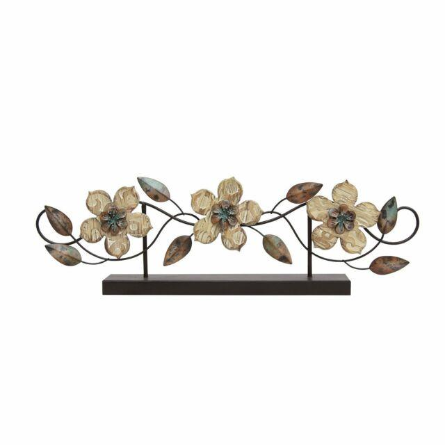 Stratton Home Decor Stamped Wood And Metal Flower Table Top Accent Centerpiece