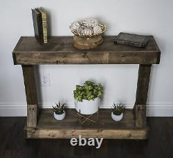 Sturdy Solid Stained Wood Dark Walnut Small Console Table Assembled Centerpiece