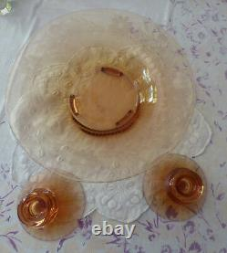 Table Console Centerpiece Bowl And Two Matching Candle Holders Fostoria Cut 129