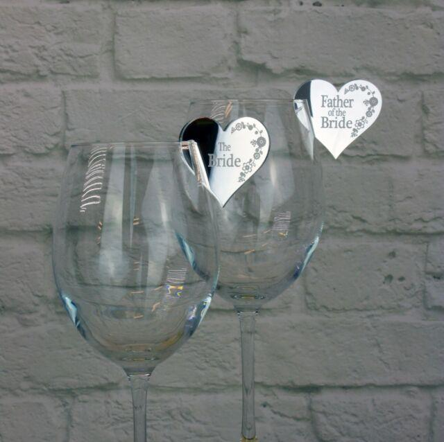 Table Name Places For Wedding/party Heart Shaped Favours On Wine/champagne Glass