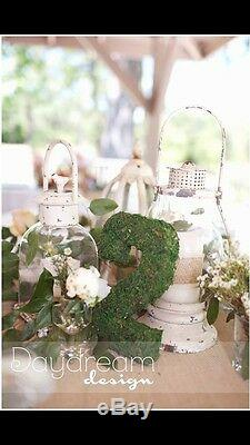 Ten 10 Wedding Table Numbers, Green Moss Covered, Southern Rustic Decor
