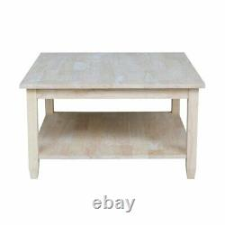 Traditional Square Coffee Table with Lower Shelf Solid Wood Centerpiece Unfinished