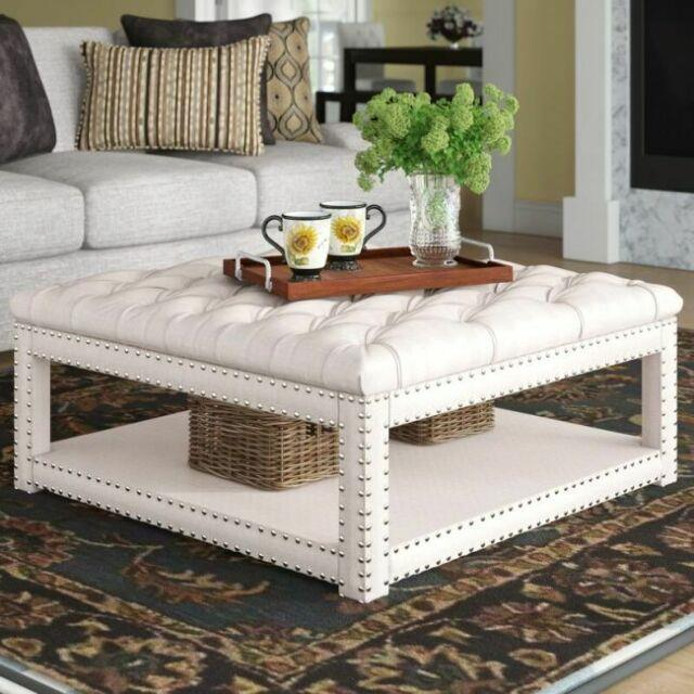 Tufted Ottoman Coffee Table Cocktail Centerpiece Large Storage Bench Shelf Beige