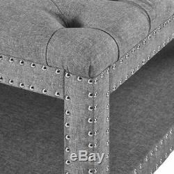 Tufted Ottoman Coffee Table Cocktail Centerpiece Large Storage Bench Shelf Grey