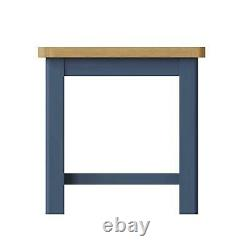 Two Tone Blue Small Coffee Table Centrepiece Shelf Storage Solid Wood Frame